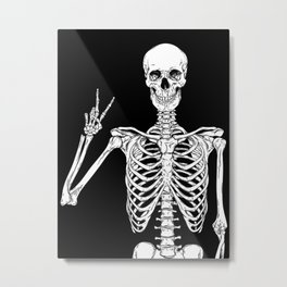 Human skeleton posing isolated over black background vector illustration Metal Print