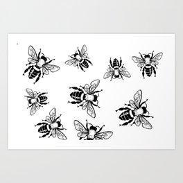 More Black Bees Pattern Vintage Handdrawn Art Print