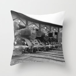 Old steam locomotive in the depot ZUG011CBx Le France black and white fine art photography by Ksavera Throw Pillow