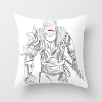 dragon age Throw Pillows featuring (Dragon Age 2) Hawke by  Steve Wade ( Swade)