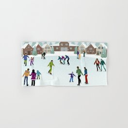 People Skating on the Ice Rink During Winter Hand & Bath Towel