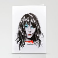 bjork Stationery Cards featuring Bjork Portrait by Raquel García Maciá