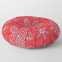 DP044-8 Silver snowflakes on red Floor Pillow