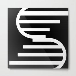 Black and white pattern geometric minimal Metal Print
