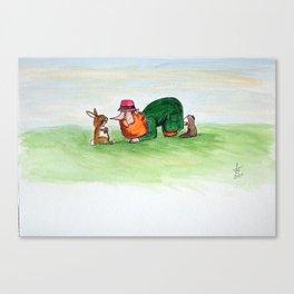 Eye to eye Leprechaun and Rabbit Canvas Print