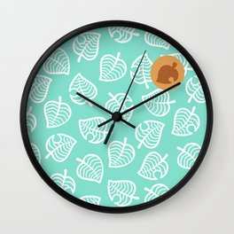 cute ac nook shirt pattern leaf green tropical island Wall Clock