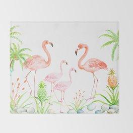 Watercolor flamingo family art print Throw Blanket