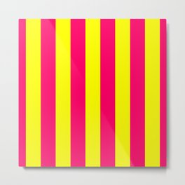 Bright Neon Pink and Yellow Vertical Cabana Tent Stripes Metal Print