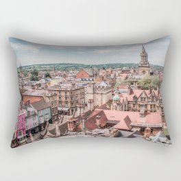 View of Oxford with Steeple   Europe UK City Architecture Landscape Photography Rectangular Pillow