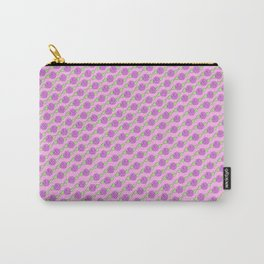 Purple Roses on Pink BG Pattern Carry-All Pouch
