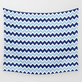 Navy Blue and Light Blue Chevron Wall Tapestry