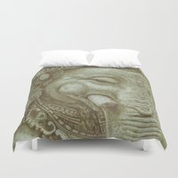 ganesh Duvet Covers featuring Ganesh green by Miryams Artwork