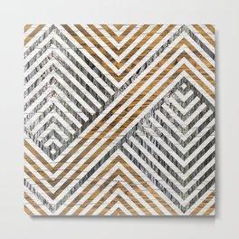 Geometric Wooden texture pattern Metal Print
