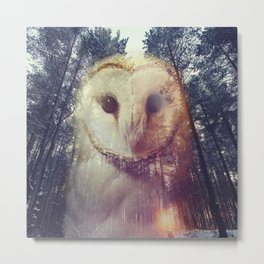Merge owl and forest reflection Metal Print