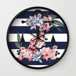 Nautical Vintage Anchor, Flowers and Stripes Wall Clock