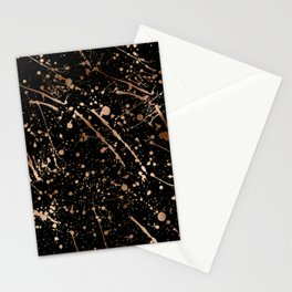 Modern abstract art black gold paint splatters Stationery Cards