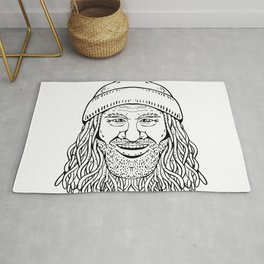 Rastafarian Dude Head Front Drawing Black and White Rug