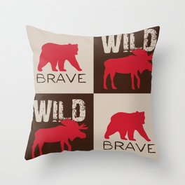 Rustic Woodland Bear and Moose Red Brown Throw Pillow