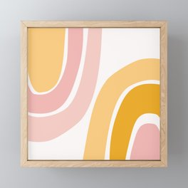 Abstract Shapes 37 in Mustard Yellow and Pale Pink Framed Mini Art Print