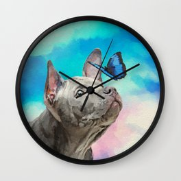 Blue Thai Ridgeback Puppy with Butterfly Wall Clock