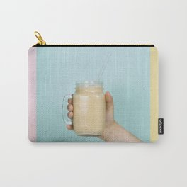 Woman (teenage girl) hand holding smoothie shake against bright wall - collage Carry-All Pouch