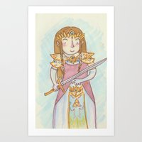 legend of zelda Art Prints featuring Zelda by Jen DesRoche