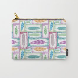 Stamped Feather Pattern Carry-All Pouch