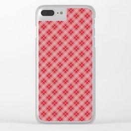 Christmas Red Poinsettia Tartan Check Plaid Clear iPhone Case