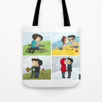 sterek Tote Bags featuring Sterek kisses by agartaart