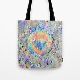 Iridescent Rainbow Moon Surface Tote Bag