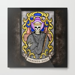 Necromancer Stained Glass Emblem Metal Print