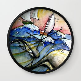 Ships Over Whales Wall Clock