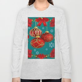 TEAL COLOR RED CHRISTMAS  ORNAMENTS &  POINSETTIAS FLOWER Long Sleeve T-shirt