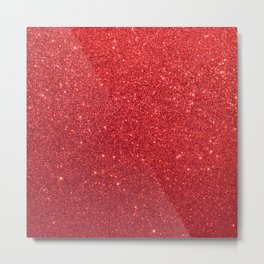 Ruby Red July Leo Birthstone Shimmering Glitter Metal Print