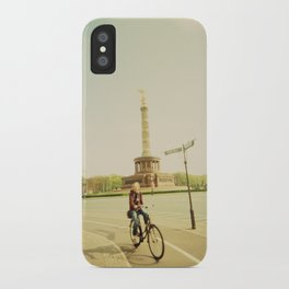 Woman on Bicycle in Berlin iPhone Case