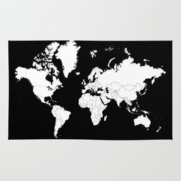 Minimalist World Map White on Black Background. Rug