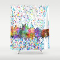 philadelphia Shower Curtains featuring philadelphia city skyline watercolor by Bekim ART
