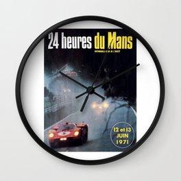 Le Mans poster, 1971, Le Mans t shirt, vintage car poster Wall Clock