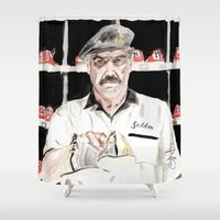 "lebowski Shower Curtains featuring The Big Lebowski ""Saddam"" by Gregory Nordquist"