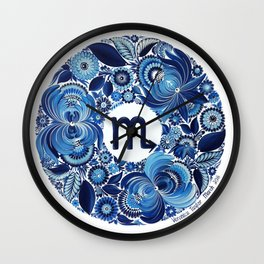 Scorpio in Petrykivka Style (with artist's signature/date) Wall Clock