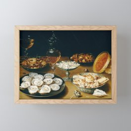 Osias Beert the Elder Dishes with Oysters, Fruit, and Wine Framed Mini Art Print