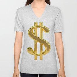 Gold Dollar Sign on White Unisex V-Neck