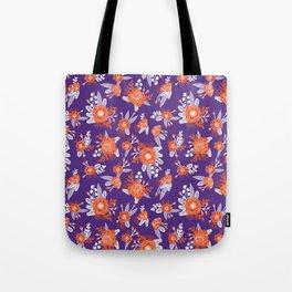 University football fan alumni clemson orange and purple floral flowers gifts Tote Bag