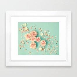 Composition of roses over mint Framed Art Print