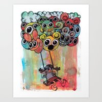 baloon Art Prints featuring baloon by Hugo Lucas