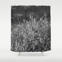 photograph of river landscape and plants in the field in soft green color for clothes, furniture, gi Shower Curtain