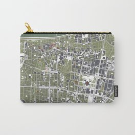 Warsaw city map engraving Carry-All Pouch