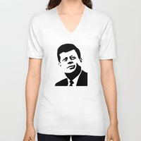 jfk V-neck T-shirts featuring JFK Poster by Steve Lovelace