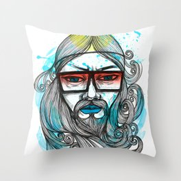 A Man with Shades and Beard Throw Pillow