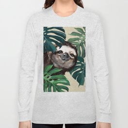 Sneaky Sloth with Monstera Long Sleeve T-shirt